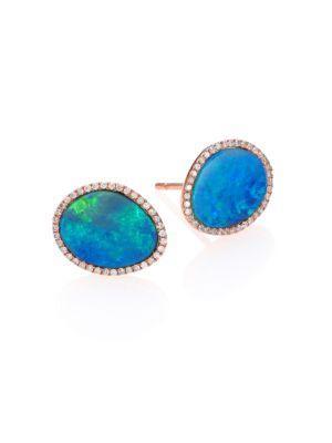 Meira T Opal, Diamond & 14k Rose Gold Stud Earrings