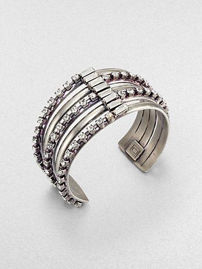 Dannijo Swarvoski Crystal Striped Cuff Bracelet