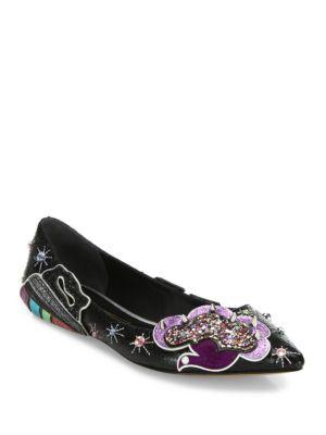 Marc Jacobs In Flight Embellished Leather Ballerina Flats