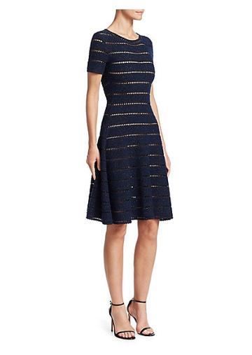 Oscar De La Renta Short-sleeve Eyelet Knit A-line Dress