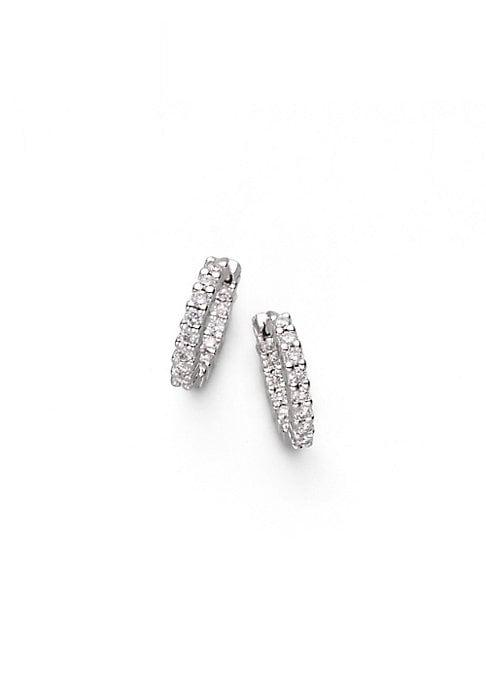 Roberto Coin Diamond & 18k White Gold Hoop Earrings/0.50