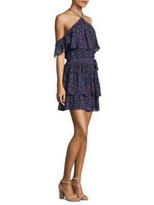 Paige Darya Off-the-shoulder Floral Silk Dress