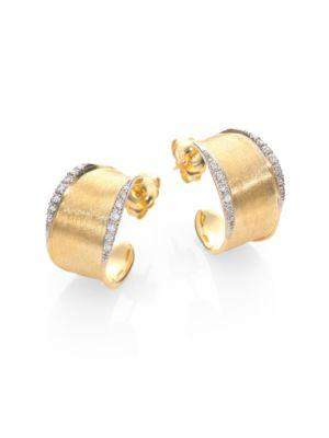 Marco Bicego Lunaria Diamond & 18k Yellow Gold Hoop Earrings/1