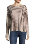 Current/elliott Striped Long Sleeve Cotton Tee