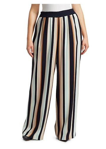 Lafayette 148 New York, Plus Size Hester Striped Wide Leg Pants