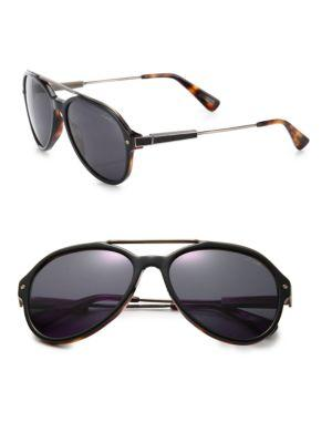 Lanvin 57mm Metal & Acetate Aviator Sunglasses