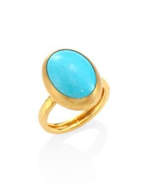 Gurhan Amulet Hue Turquoise & 22-24k Yellow Gold Oval Ring
