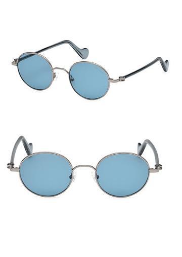 Moncler Shiny Light 49mm Round Sunglasses