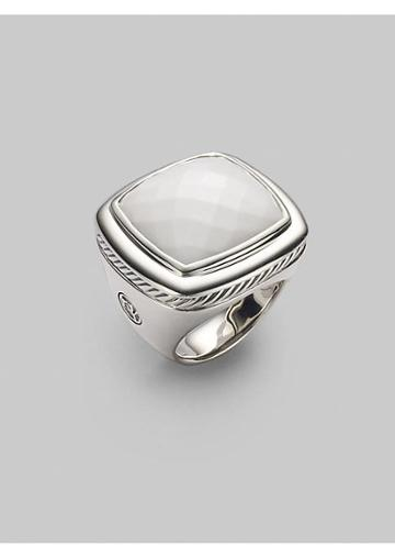 David Yurman White Agate & Sterling Silver Ring