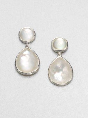 Ippolita Wonderland Mother-of-pearl, Clear Quartz & Sterling Silver Snowman Doublet Drop Earrings