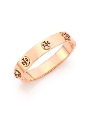 Tory Burch Logo Stud Bangle Bracelet/rose Goldtone