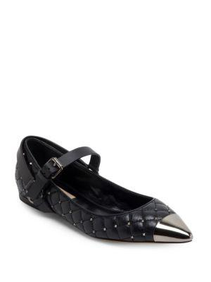 Valentino Rockstud Spike Leather Cap Toe Ballet Flats