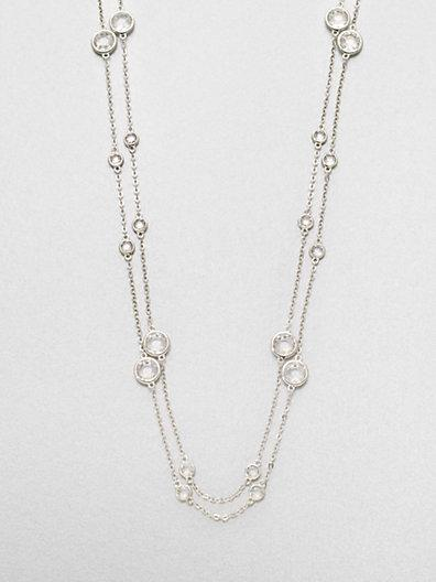 Adriana Orsini Long Double-row Station Necklace/rhodium