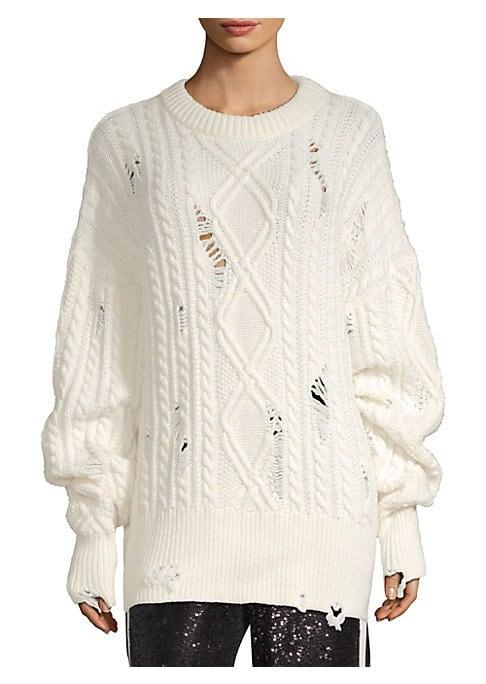 The Kooples Destroyed Cableknit Sweater