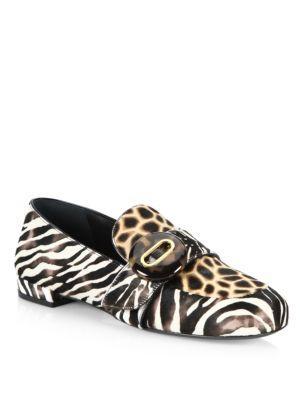 Prada Zebra & Giraffe-print Calf Hair Loafers