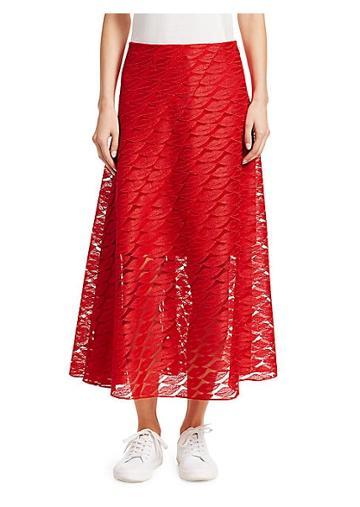 Akris Lips Embroidery A-line Midi Skirt