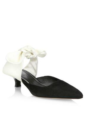 The Row Suede And Satin Bow Mules