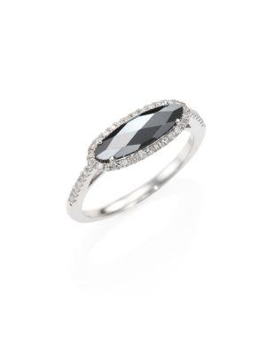 Meira T Diamond, Hematite & 14k White Gold Ring