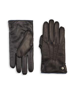 Saks Fifth Avenue Collection Cashmere Lined Touch Tech Leather Glove