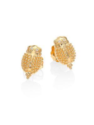 Temple St. Clair Scarab Diamond & 18k Yellow Gold Stud Earrings