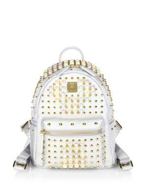 Mcm Stark Pearly Studded Metallic Leather Backpack