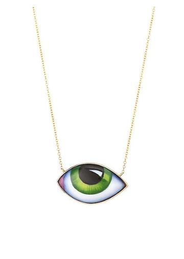 Lito 14k Yellow Gold Green Eye Enamel Necklace