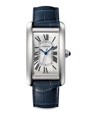 Cartier Large Tank Americaine Stainless Steel & Alligator Strap Watch