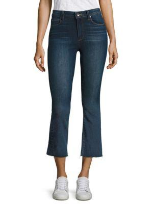 Paige Colette Cropped Flared Jeans With Frayed Hem