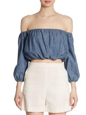 Theory Waleska Off-the-shoulder Chambray Blouse