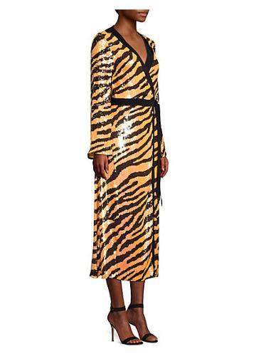 Rixo Gigi Tiger Sequin Wrap Dress