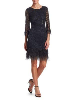 Joanna Mastroianni Sequin Feathered Cocktail Dress