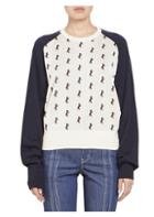 Chloe Horse Embroidered Baseball Knit Sweater