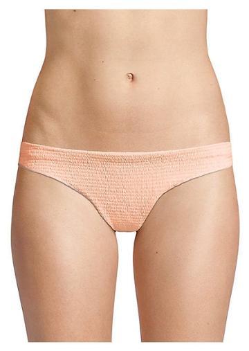 Pilyq Papaya Ruched Bikini Bottoms