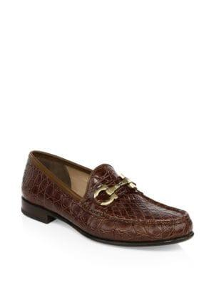 Salvatore Ferragamo Bond Croc-embossed Leather Loafers