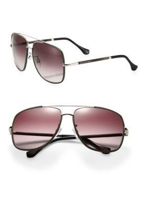 Balenciaga 60mm Metal & Acetate Aviator Sunglasses