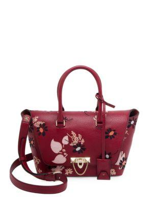 Valentino Small Demi Lune Floral-embroidered Leather Satchel