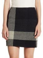 Akris Punto Checked Tweed Mini Skirt