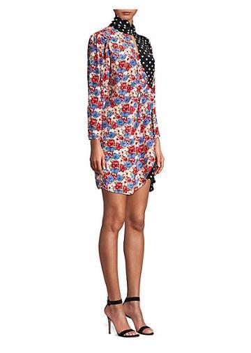 Rixo Cherie Floral & Polka Dot Patchwork Silk Shirtdress
