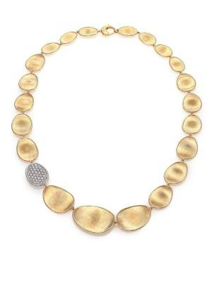 Marco Bicego Lunaria Diamond & 18k Yellow Gold Single-station Collar Necklace