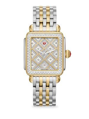 Michele Watches Deco Two-tone Mother-of-pearl, Diamond Grid & Stainless Steel Bracelet Watch