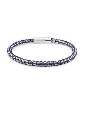 Tateossian Crystal And Silver Catena Rigato Chain Bracelet