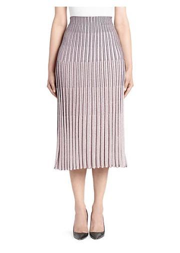 Cedric Charlier Pleated Metallic Midi Skirt
