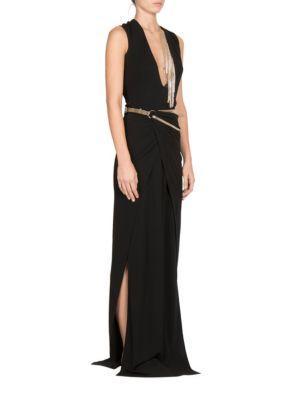 Lanvin Jewelry-embellished V-cut Silk Gown