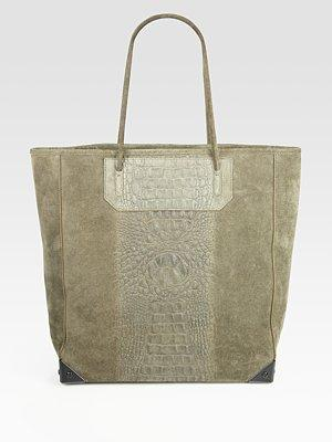 Prisa Crocodile-embossed Suede Tote Bag