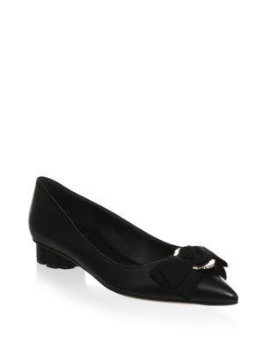 Salvatore Ferragamo Bow Leather Flats