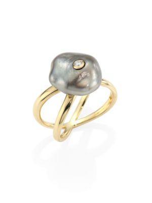 Mizuki Diamond, 10mm Grey Baroque Tahitian Pearl & 14k Yellow Gold Crossover Ring