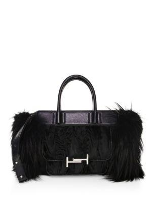 Tod's Double T Small Fur & Leather Satchel