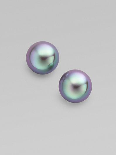 Majorica 12mm Grey Pearl Earrings
