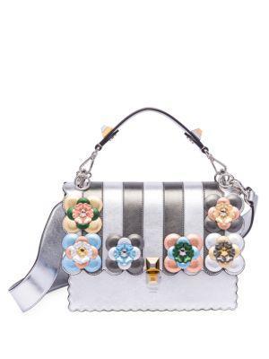 Fendi Kan I Floral-detail Metallic Leather Shoulder Bag