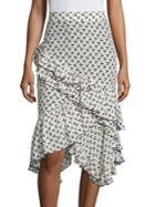 Altuzarra Tucson Cherry-print Ruffle Silk Skirt